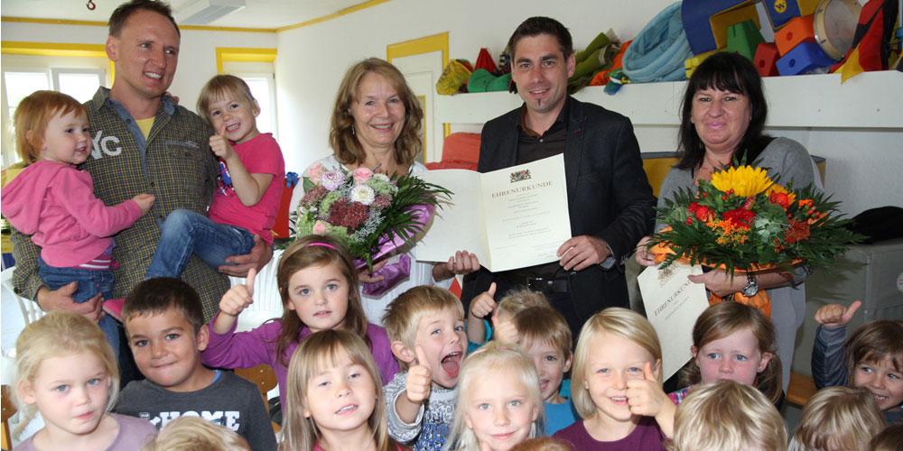 Arbeitsjubilarinnen im Trailsdorfer Kindergarten